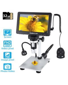 7 inch LCD Digital USB Microscope with 32G TF Card,Koolertron Upgraded 12MP 1-1200X Magnification Camera Video Recorder,Wired Remote,Rechargeable Battery for Circuit Board Soldering PCB Coins Outdoor
