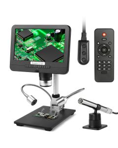Koolertron 7 inch LCD Digital Microscope Endoscope Angle Adjustable Display with Remote Control, 12MP Photo Capture 1920x1080 30fps Video Recorder Support Image Flip/Reverse Color/Black & White Suitable for Circuit Board Repair Soldering PCB Coins, etc