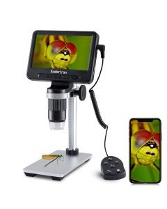 5 inch Coin Microscope with In-line control, 1000x Digital Microscope + 32GB SD Card + Metal Stand, 1080FHD USB Microscope with Wifi Function, Compatible with Windows iPhone Android iPad